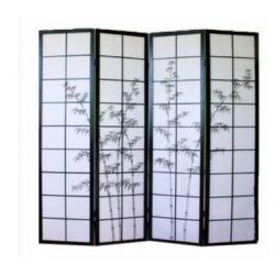 "Biombo 4 paneles. 180x180cm. Modelo: ""Tallo negro""."