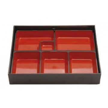 "Bento box, 26x26cm. Color ""Negro-rojo"""