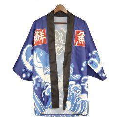 "Yukata ""ola azul-negra-blanca"""