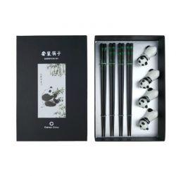"""Set 4 palillos y soportes. Modelo: """"Panda""""."""