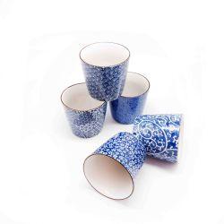 """Set 5 tazas de té. Modelo: """"azul""""."""