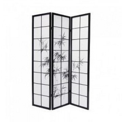 Biombo. Modelo: Tallos Negros de bambú, con medidas de 135x180cm