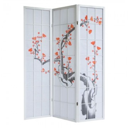 "Biombo 3 Paneles ""Blanco Sakura"" 135x132cm"
