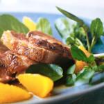 Receta 7: Pechuga de Pato Crujiente con salsa de mandarina y berros.